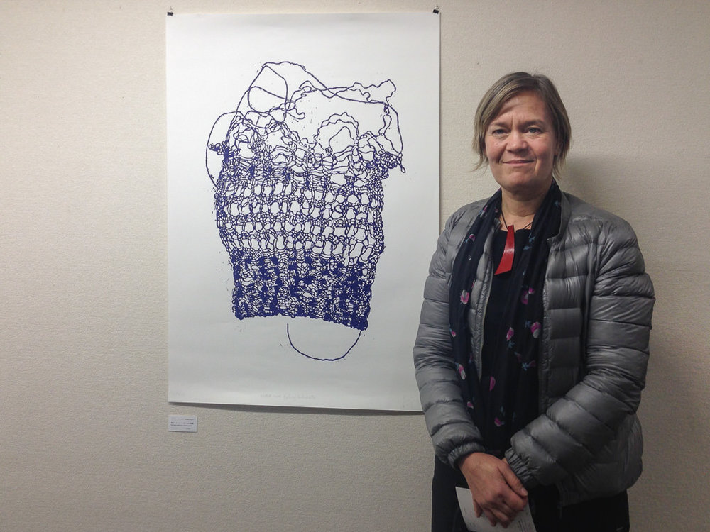 Visual artist Pernille Mejslov with one of her prints at the Jarfo gallery in Kyoto