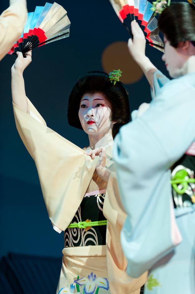 """The geisha Kimina of Miyagawa-cho at the start of """"Miyagawa Ondo,"""" the annual finale of Kyo Odori"""