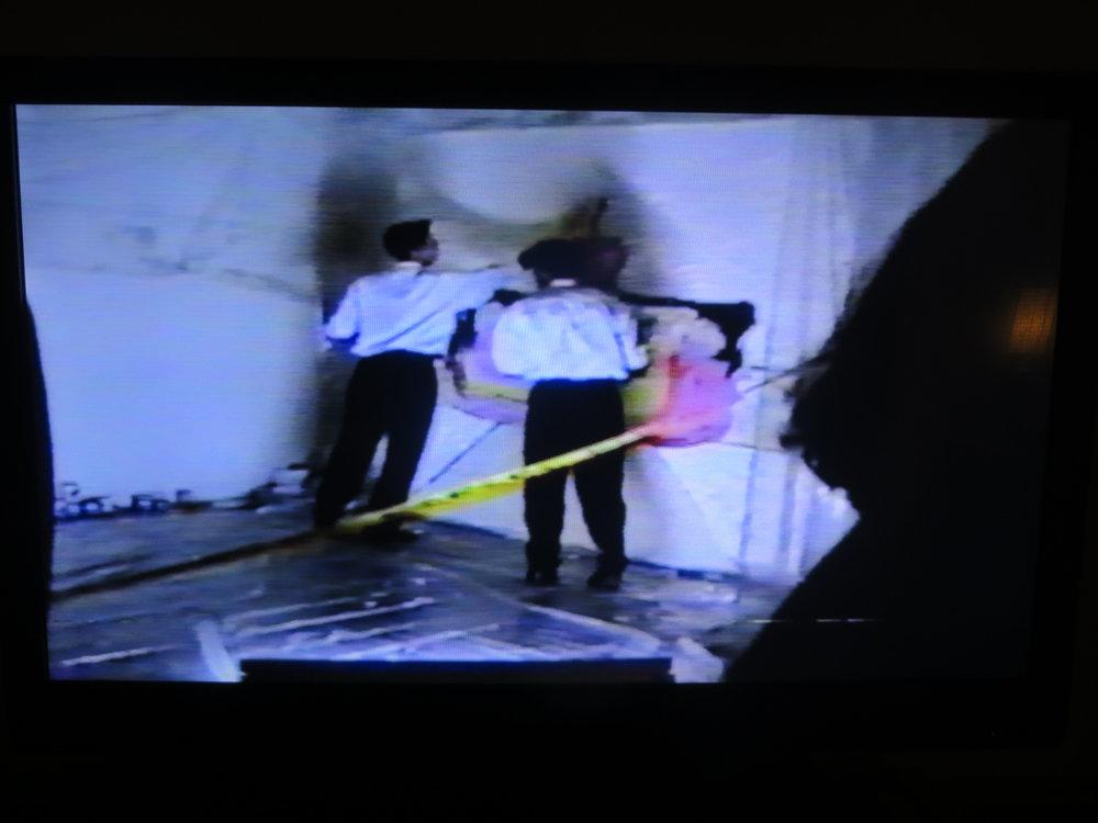 A still from a video recording of Dike Blair's 49c Breakfast, December 5, 1993