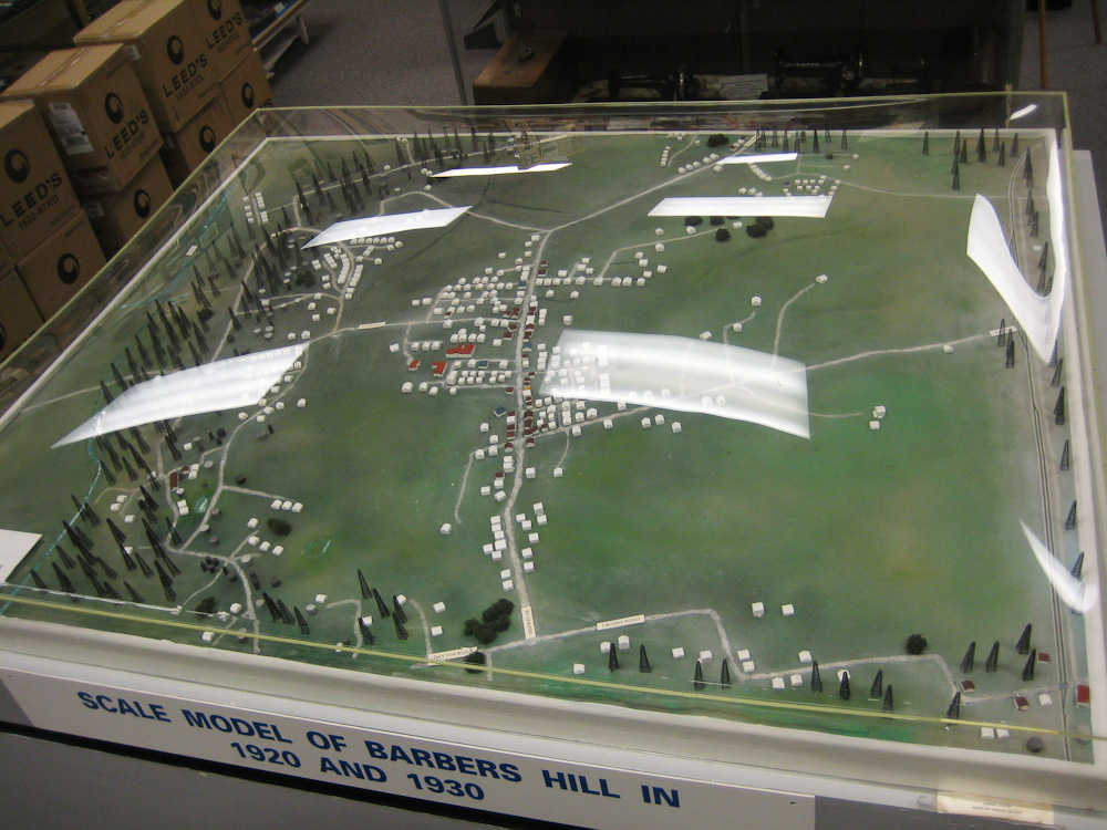 Model at the Barbers Hill / Mont Belvieu Museum, showing derricks surrounding town