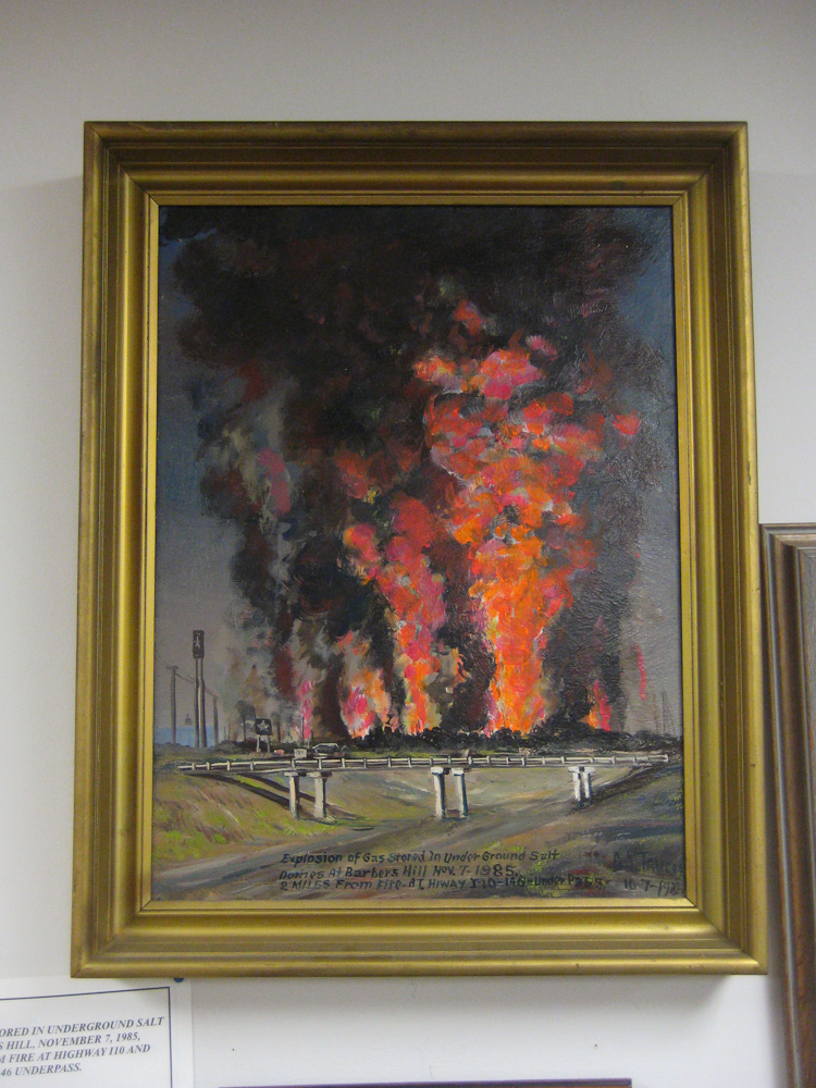 Painting of 1985 fire at the Barbers Hill / Mont Belvieu Museum
