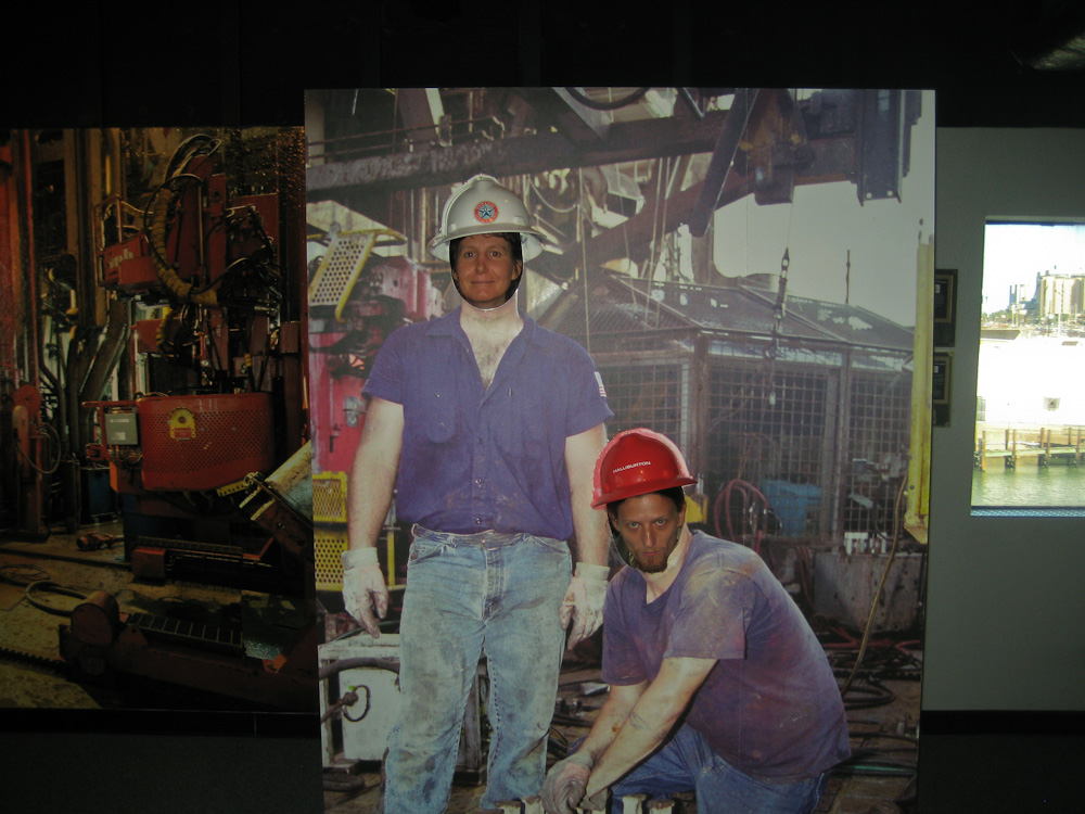 Posing as roughnecks, Ocean Star Offshore Drilling Rig and Museum, Galveston, Texas