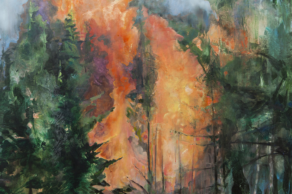 "Elizabeth Blau, detail ""Embers"" acrylic on canvas (photo credit Mikayla Whitmore)"
