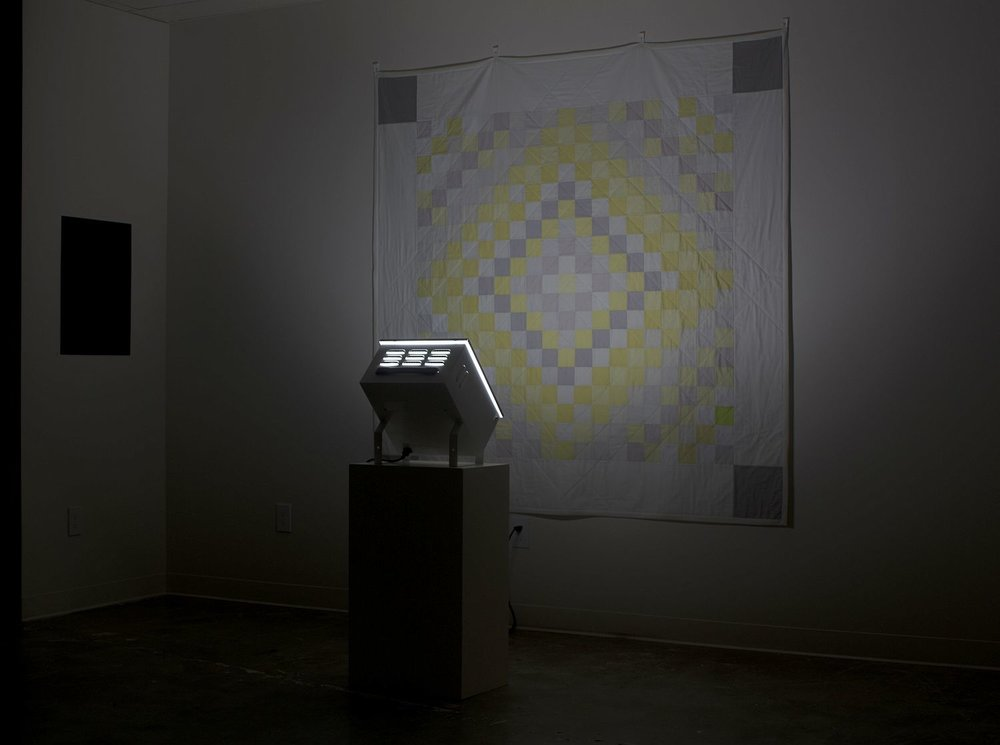 "sunshine and shadow (winter quilt), 2015, 74"" x 74"" x 3'"