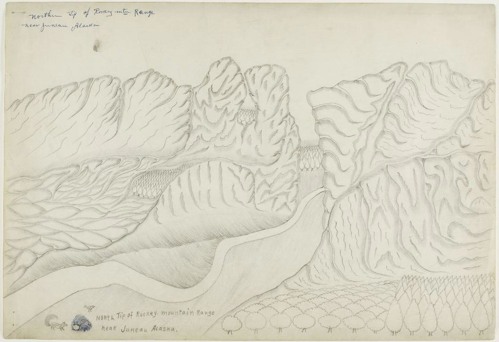 Joseph Yoakum, Northern Tip of Rockey Mtn. Range near Juneau Alaska, graphite/ballpoint pen on ivory wove paper, c. 1962, photo credit: the Art Institute of Chicago