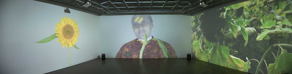 Yasmina Chavez, Fountainhead Loop, 3 channel video, installation image. The artist's MFA thesis project Sensing Time, opens at the Robert C. Turner Gallery in Alfred, New York this month.