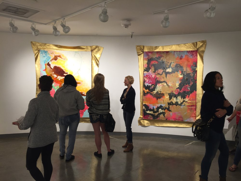 view of Rachel Stiff's opening reception for her exhibition at the Winchester Cultural Center Gallery this spring. Winchester is one of the Las Vegas venues participating in Audience Surveys, part of the national research study Arts & Economic Prosperity 5. Image courtesy Adam Morey and the Winchester Cultural Center.
