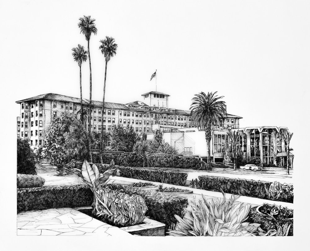 Aschheim, Ambassador Hotel, ink on Duralar, 2013, 36″x 40″ (Lee Thompson)
