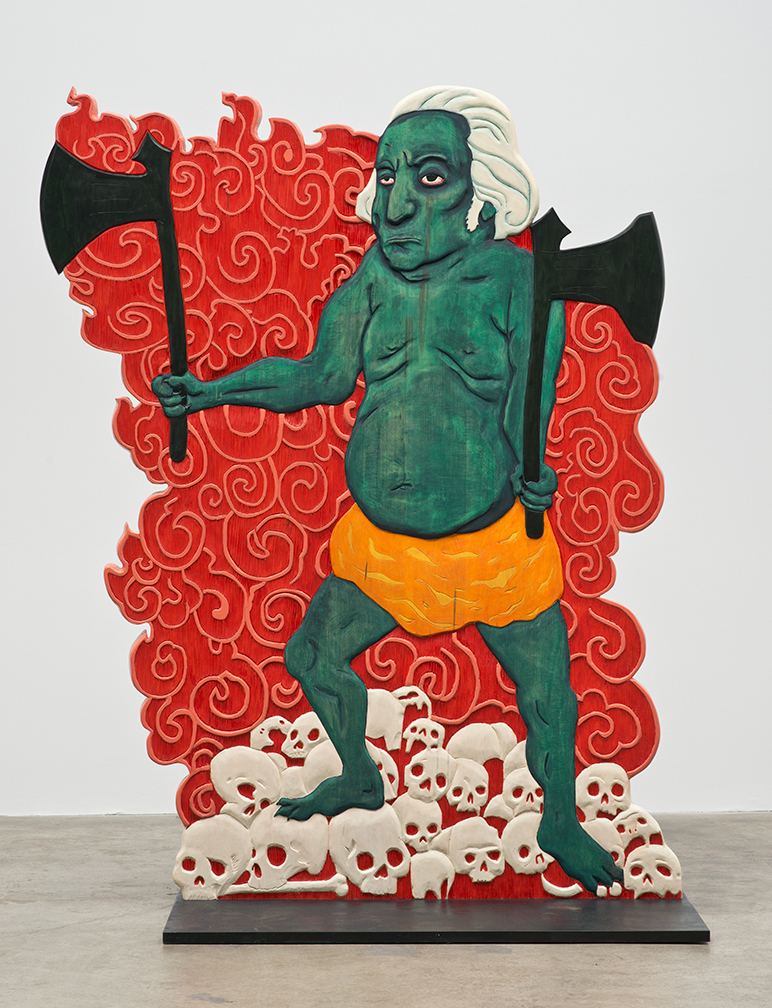 Erin Cosgrove, Urfather Washington, Polychrome basswood, 2012. (Image courtesy the artist and Artist Pension Trust, Los Angeles)