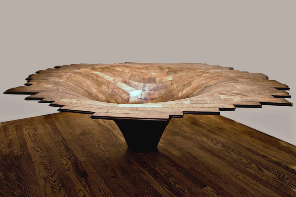 Brent Sommerhauser, Bellmouth, custom tongue and groove flooring, 20″ x 75″ x 65″ 2012. (Image courtesy the artist and Nevada Museum of Art. Photo credit Corey Fox)