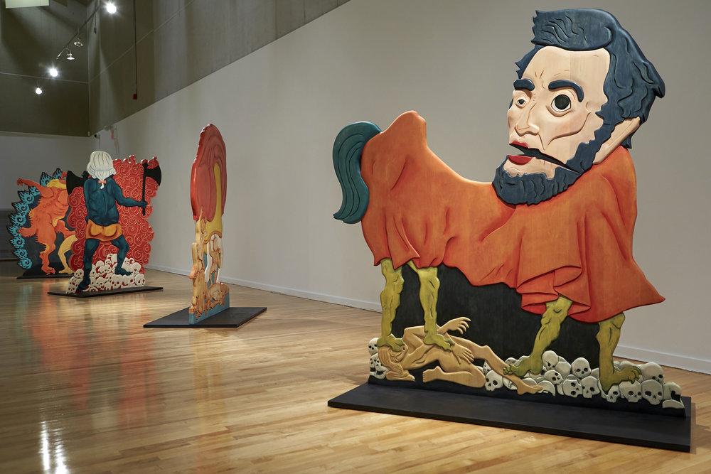 Installation view of Erin Cosgrove's Urfathers series at the Marjorie Barrick Museum. (Courtesy the artist and Artist Pension Trust, Los Angeles / Photo by R. Marsh Starks, UNLV Photo Services)