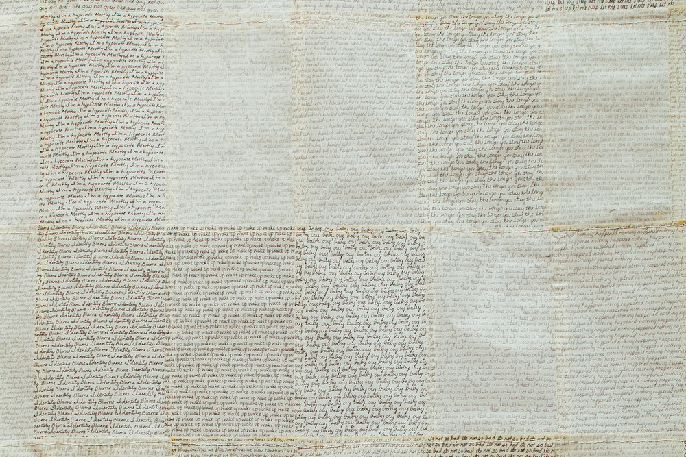 Krystal Ramirez, detail, Paradigm, lightweight offset paper, graphite, ink, polyurethane, cotton thread, 2016. (Photo Krystal Ramirez)