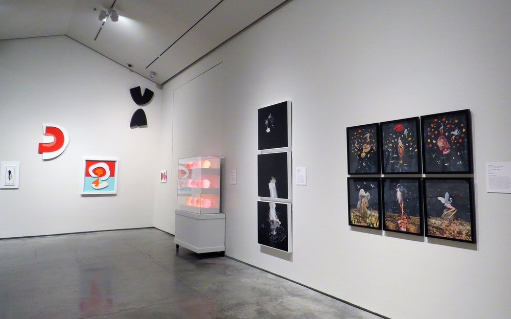 Installation view, from left, work by David Ryan, Chris Bauder, Katty Hoover, JK Russ. (Photo JK Russ)