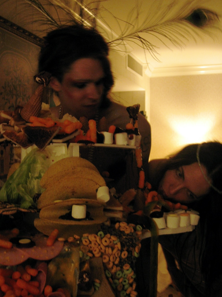 Image: Aaron Sheppard and Danielle Kelly with Wendy Kveck food sculpture. Photo by and courtesy of Jovi Schnell.