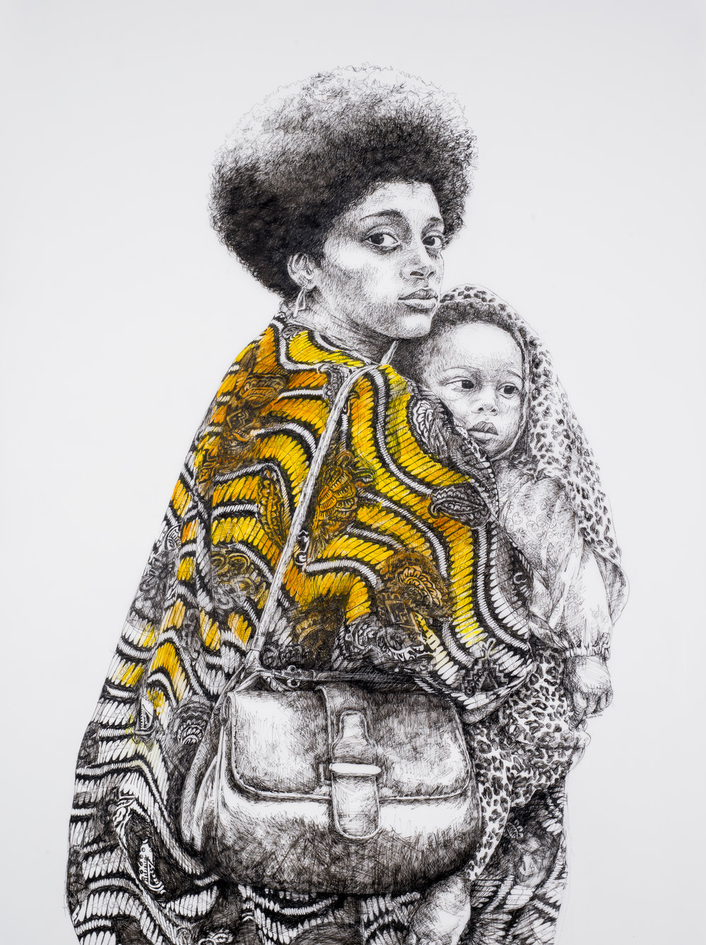 "Deborah Aschheim,  Mother and Child, Free Huey Rally, De Fremery Park, Oakland (after Ruth Marion-Baruch)  2017. The Black Panther Party formed in Oakland in 1966 demanding an end to oppression of African Americans, and calling for housing, education, jobs, and justice. ""The party is known mostly for its confrontational stances; and that's a good thing – to be confrontational against evil and violence. The kinds of problems that the black community suffers: unequal levels of imprisonment, unequal levels of access to resources, poor health. The Black Panther Party tried to model for the community some of the possible solutions that were not capitalist-oriented."" Kathleen Cleaver, first Communications Secretary for the Black Panther Party. Image courtesy the artist and the San Francisco Arts Commission's Art on Market Street Program."