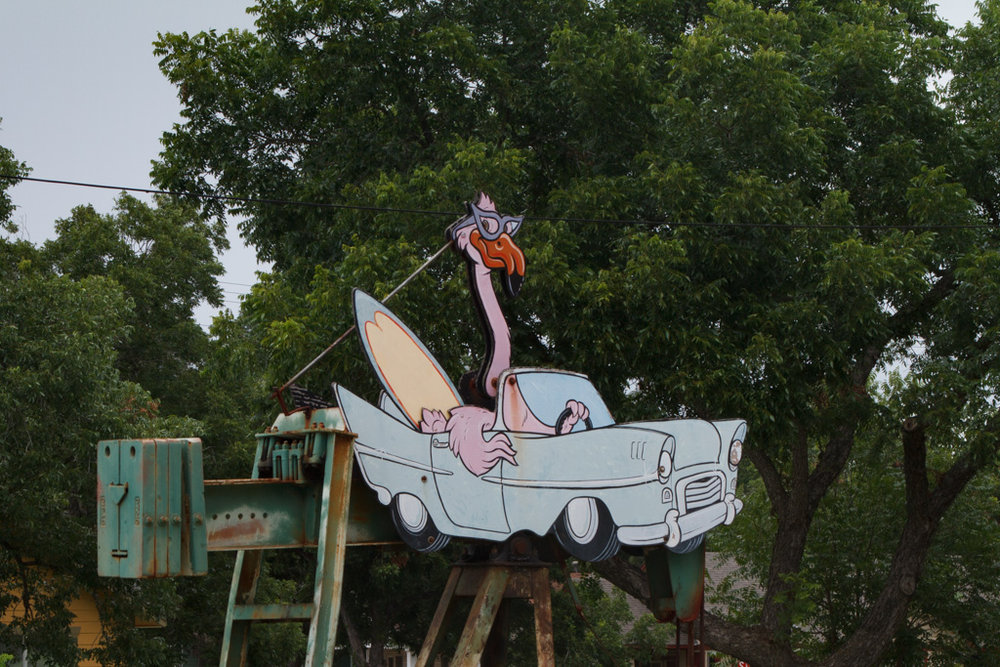 Surfing Flamingo in Car , George Kalesik. Photo: Laura Napier