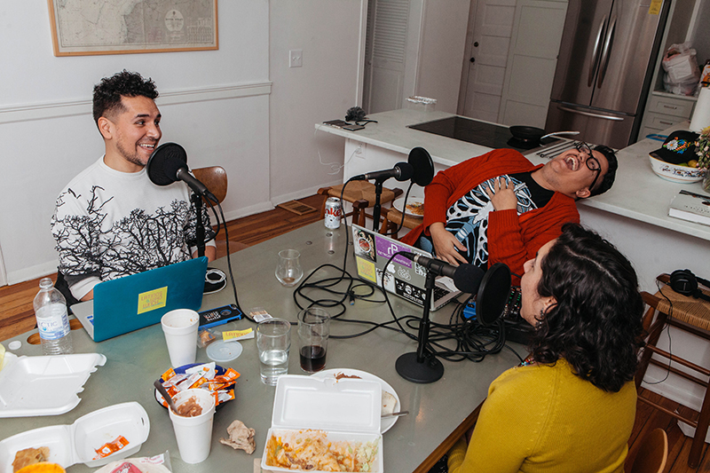 Latinos Who Lunch podcast in progress. Photo Mikayla Whitmore.