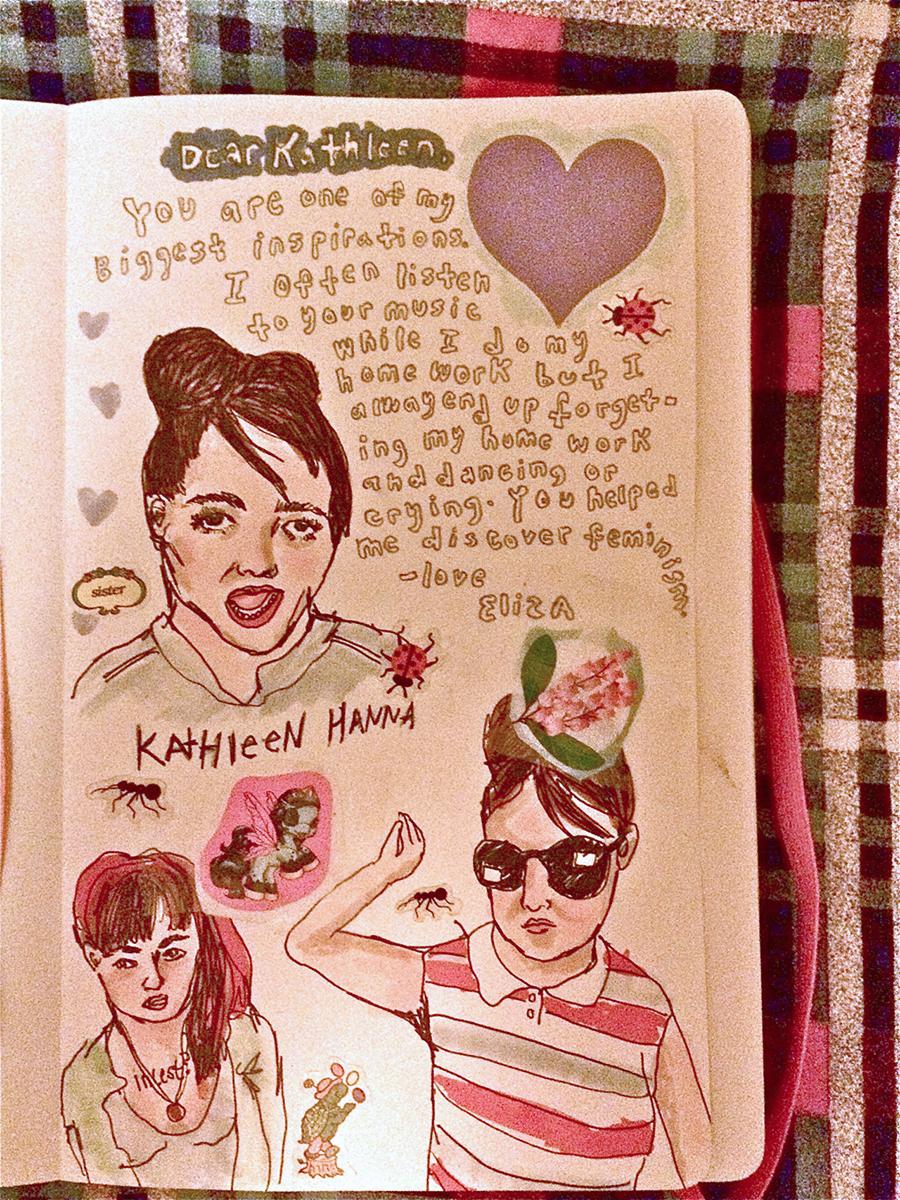 Letter to Kathleen Hanna from Eliza Henderson. From feministloveletters.tumbler.com