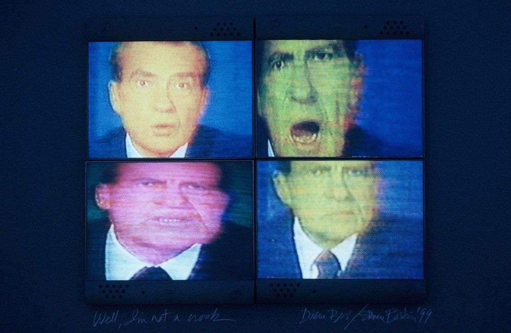 "Diane Bush | Well, I'm Not a Crook! | photograph and audio | from the series, ""500 Channels"""