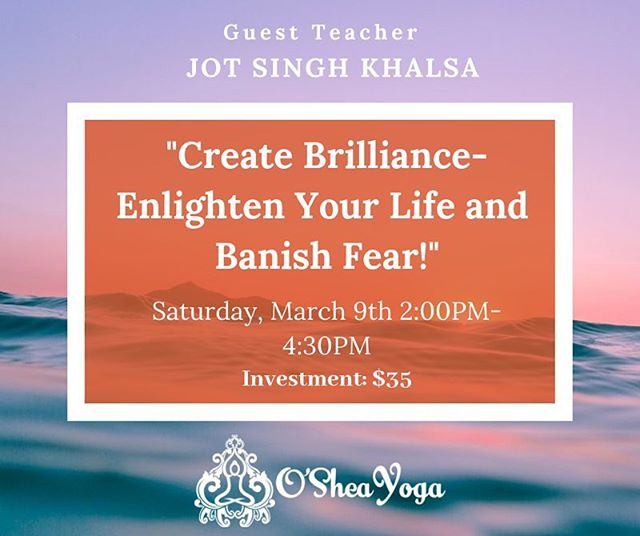"""""""Create Brilliance-Enlighten Your Life and Banish Fear!"""" A Kundalini Yoga Workshop with Guest Teacher, Jot Singh Khalsa, on Saturday, March 9th 2:00PM-4:30PM.  In this class, we'll employ Kundalini kriyas, meditations and mantras to help you create a brilliant light within burning away darkness and fear. Jot Singh Khalsa will share Yogi Bhajan's teachings on the importance of cultivating consistency with your Kundalini Yoga and meditation practice, so you can be successful within every realm of your life!  Jot Singh Khalsa has practiced and taught Kundalini Yoga and meditation for 46 years and is profoundly grateful to have studied directly with and be personally guided by Yogi Bhajan for over 30 years. He is a world-class award-winning artist/craftsman and designer whose work has been featured on book and magazine covers, in museum exhibitions and in print media published in nine languages. Original, Affordable Jewelry and Talismans Available for Purchase Before and After Class.  Investment: $35  To register, please email us at osheayoga@gmail.com  #kundaliniyoga #yoganewjersey"""
