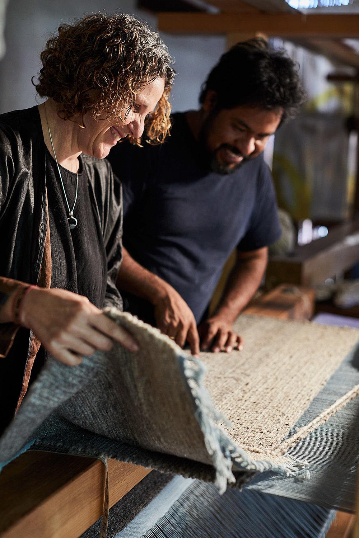 Madda Studio Loom for weaving wool rugs in Mexico