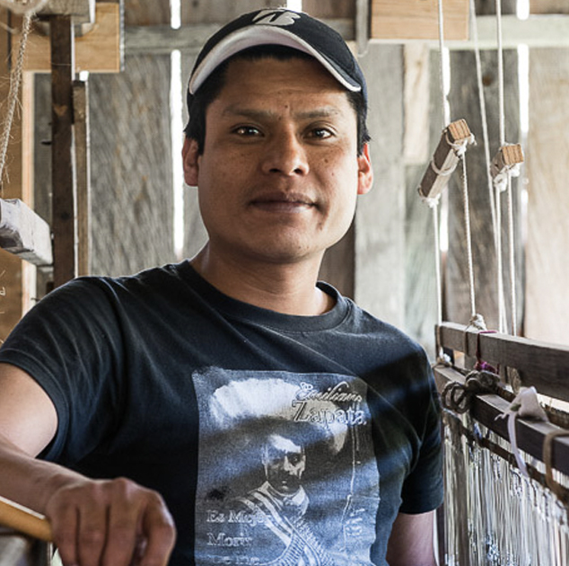 Gilberto   Madda Studio Weaver  Gilberto was trained as a weaver in the Kun Kun civil association of which Maddalena was co-founder in 1995 in San Cristóbal de las Casas. After studying a career in law he decided that what he wanted was to continue weaving and is now a recognized master weaver.