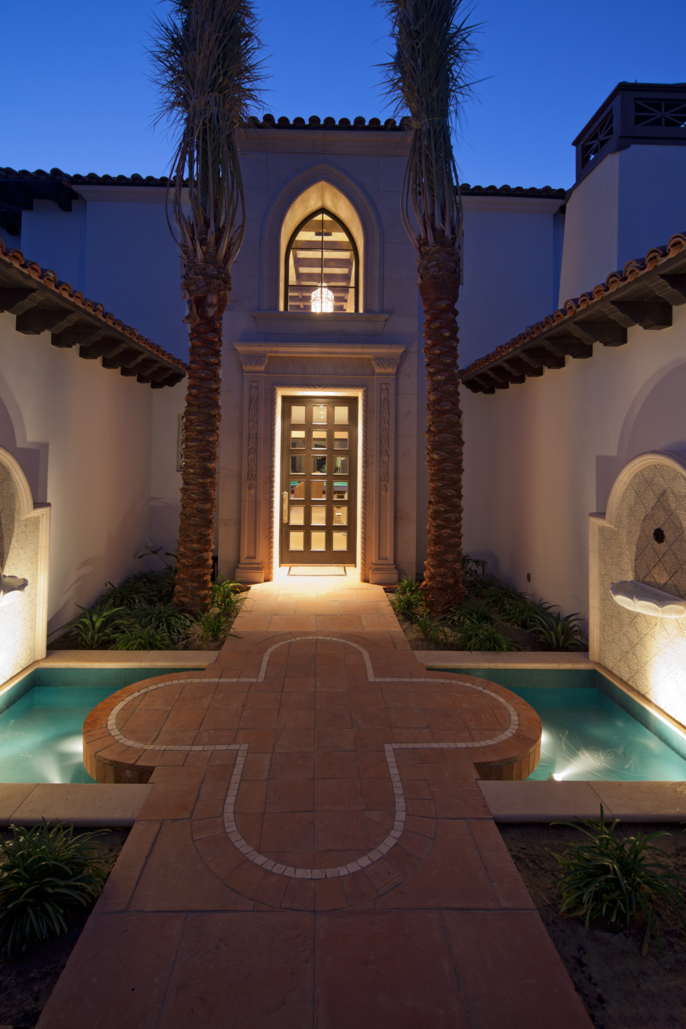 Contemporary-Spanish-Evening-Entryway-Fountains-Premier-General-Contractors.jpg