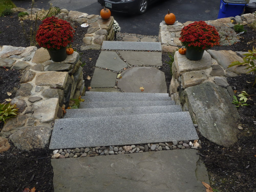 Woodbury Granite Steps and Irregular Bluestone set in Long Island River Stone Landing (2).JPG