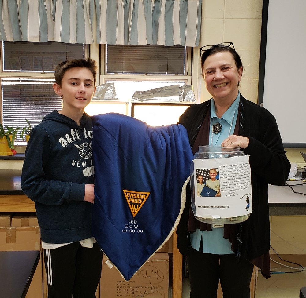 Thank you Marlton Middle School! - Sending a special thank you to the students and staff at MMS for their generous donation to Blue-line Brothers Blankets! Mrs. Lorraine Busa was the angel who helped Jaret set up the week long collection that was such a success! The community's support and thoughtfulness is what makes bringing comfort to grieving police families all possible. 💙