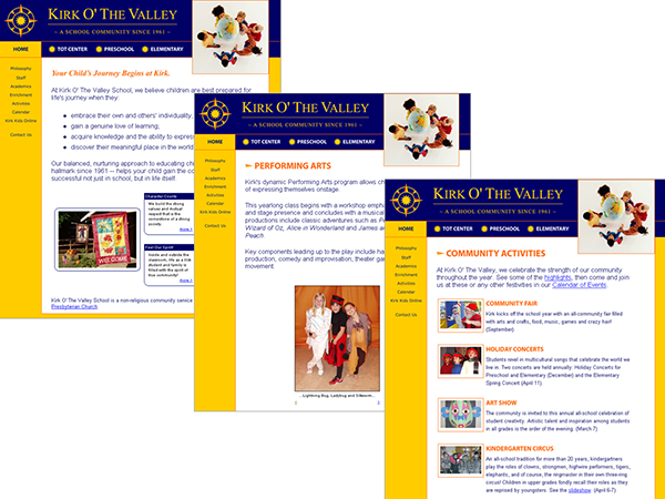 A redesigned website showcased the school's child-centered philosophy, spirited community, and renowned performing arts programs.