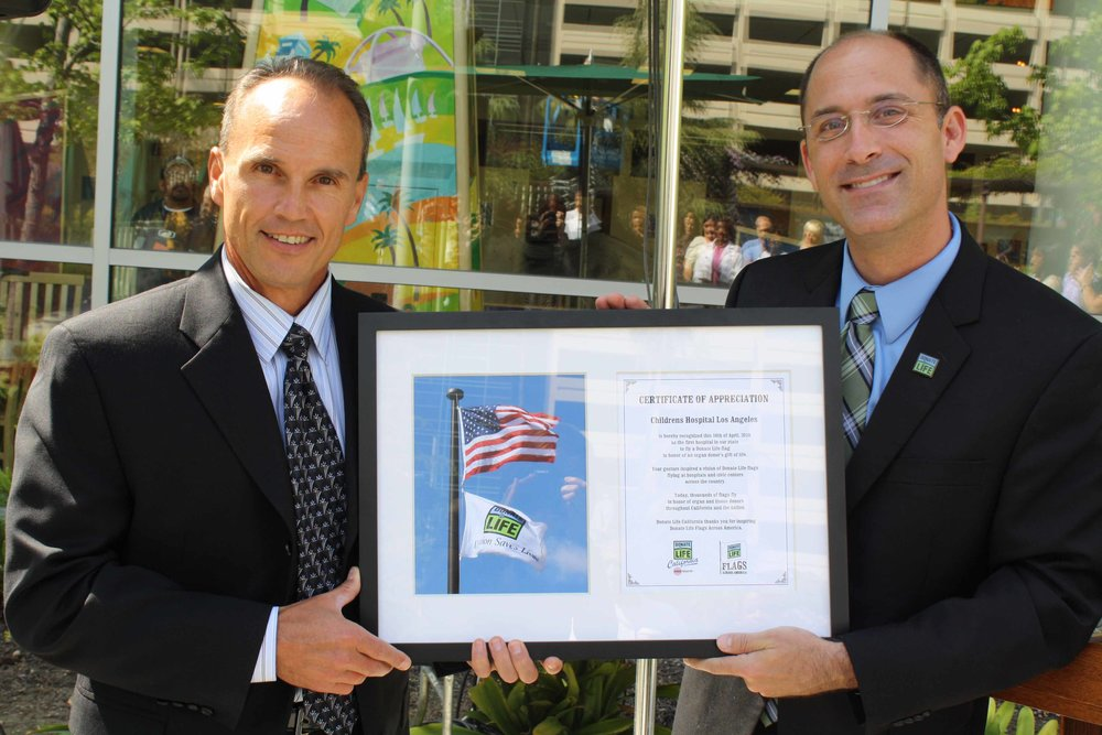 Children's Hospital Los Angeles was acknowledged for being the first hospital in the nation to raise a Donate Life flag in observance of National Donate Life Month.