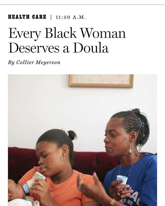 So proud of and grateful to our client @youngcollier for writing this important piece about the state of black maternal mortality in the US, and how game changing it can be to have a doula at your birth- in her case, us!!