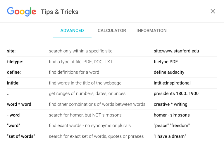 Search Tips for Google