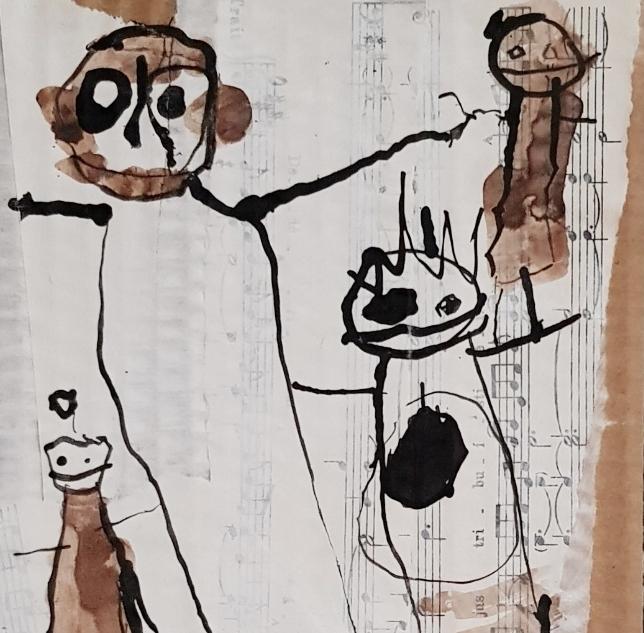 Portraits de famille - Encre de chine et brou de noix appliqués au calame sur papiers marouflés sur carton
