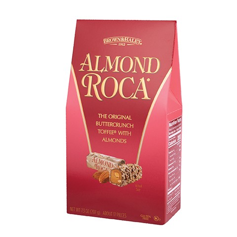 0371 7.3 OZ ALMOND ROCA® STAND-UP BOX - Left-facing View