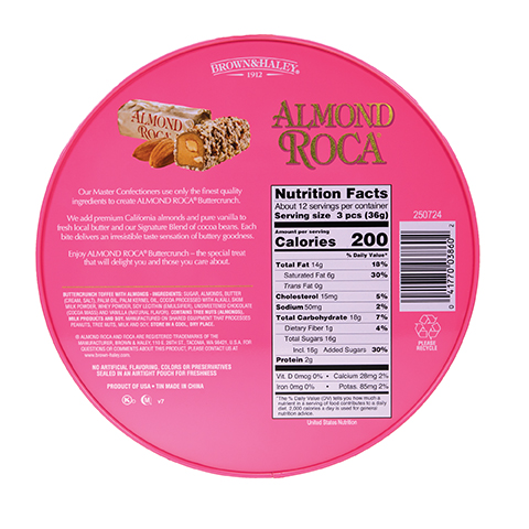 0386 16 OZ ALMOND ROCA® NOSTALGIA TIN - Back-side View