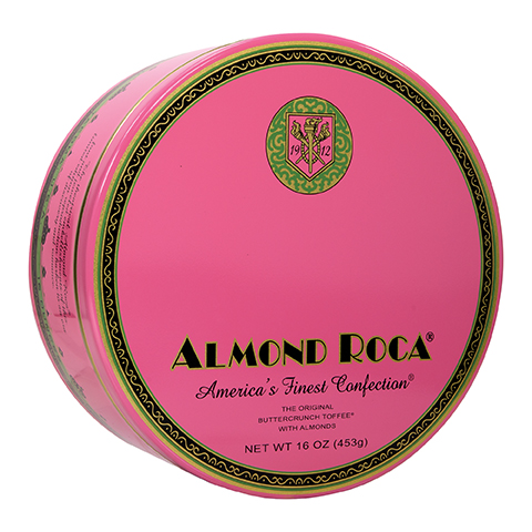 0386 16 OZ ALMOND ROCA® NOSTALGIA TIN - Right-facing View