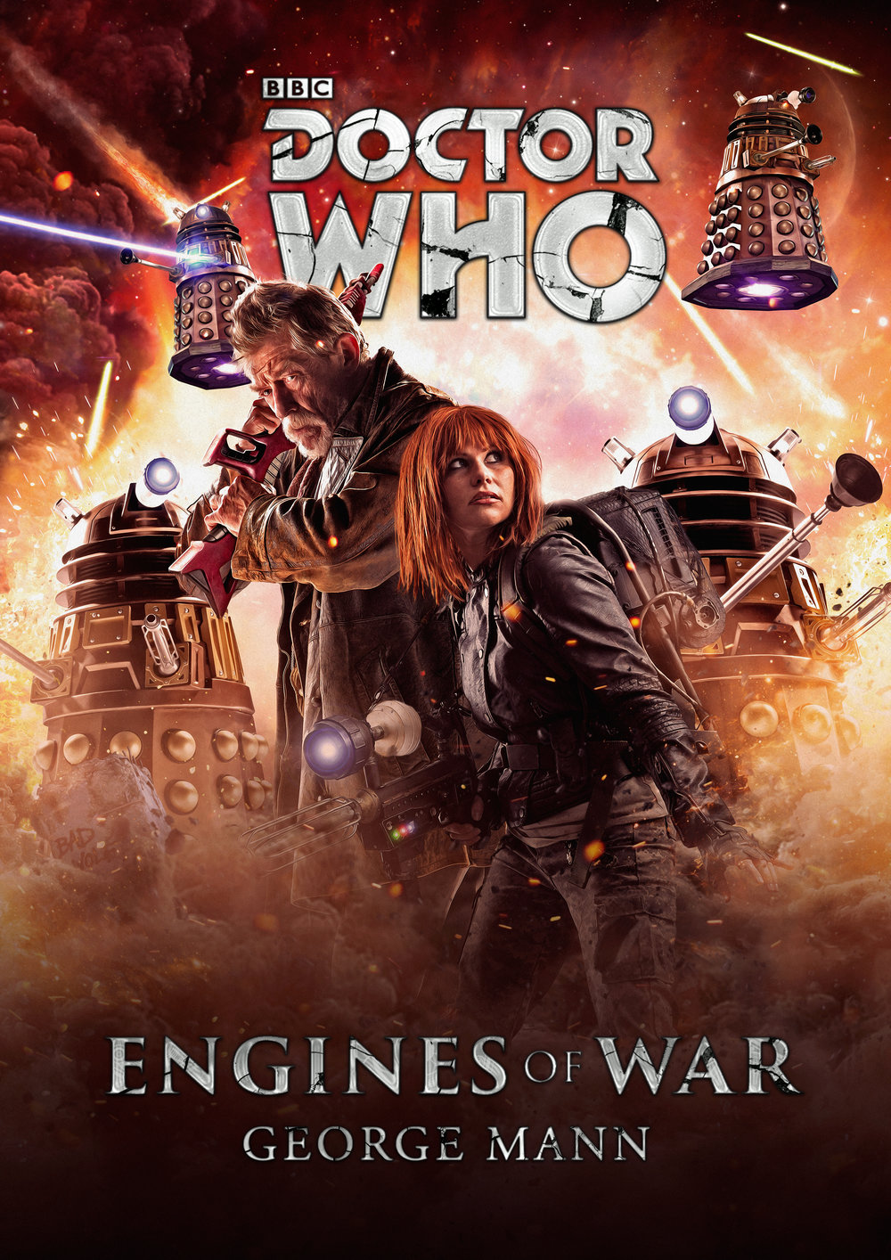 Engines of War   book cover mock-up  by  Will Brooks . John Hurt's War Doctor, Doctor Who, & Daleks © BBC. Cinder photo by:  Greg De Stefano . Special Thanks:  Paul Hanley , George Mann, Brian Uiga, and Vanessa Walton.