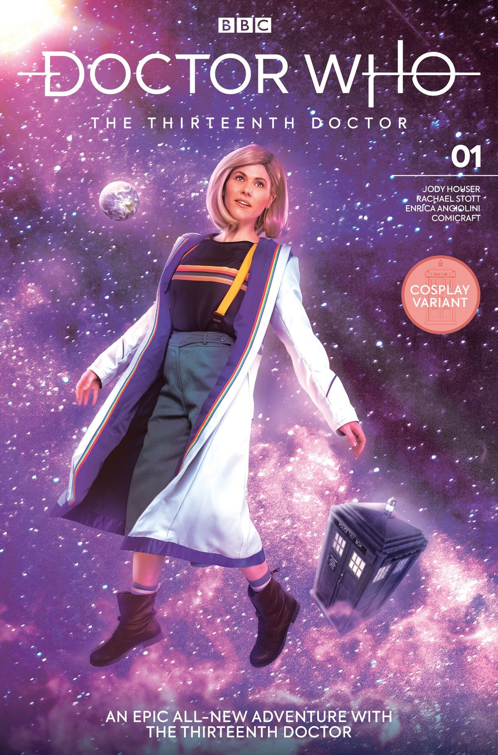 Titan Comics : Doctor Who -  The Thirteenth Doctor # 1  - Cover K: Cosplay Variant  (order code: AUG182231) Photographer:  Shannon Cottrell  Makeup & Wig Styling:  Jessica Mills  Cosplay Jacket Designer:  Chad Evett  Assistance & Behind The Scenes:  Lauren Elisabeth  Special Thanks: Chris Thompson & Andrew James of Titan, Brad Hansen, and Bob Mitsch