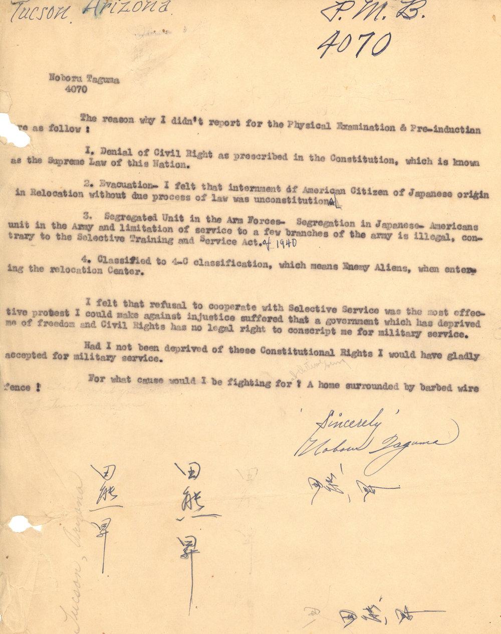 Noboru Taguma's reasons for resisting the military draft.  Courtesy of Kenji G. Taguma