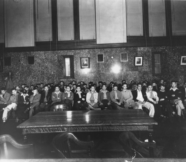 The first day of the trial of the 63 Heart Mountain draft resisters in Federal District Court, Cheyenne, Wyoming, June 12, 1944.  Courtesy of Frank Abe