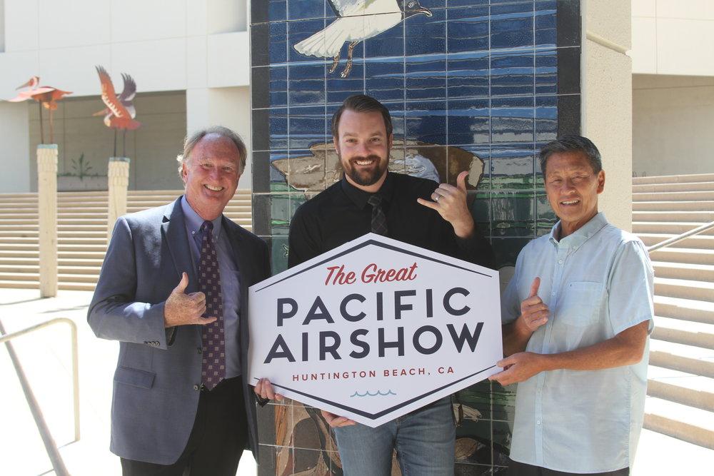 (L-R) Huntington Beach Mayor Mike Posey, Code Four CEO Kevin Elliott, and Huntington Surf & Sport Founder Aaron Pai