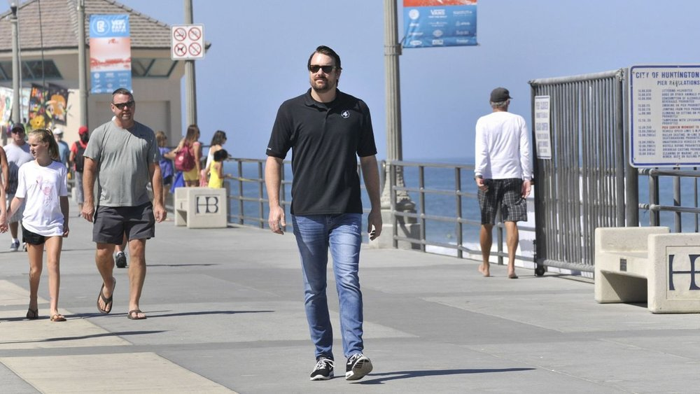 Huntington Beach resident Kevin Elliott, seen on the Huntington Beach Pier this week, is the new owner of the Great Pacific Airshow, formerly known as the Breitling Huntington Beach Airshow. (Photo by Mike Mullen)