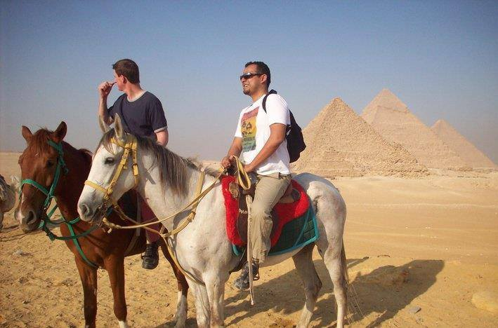 Exploring the pyramids at Giza, Egypt (2011)
