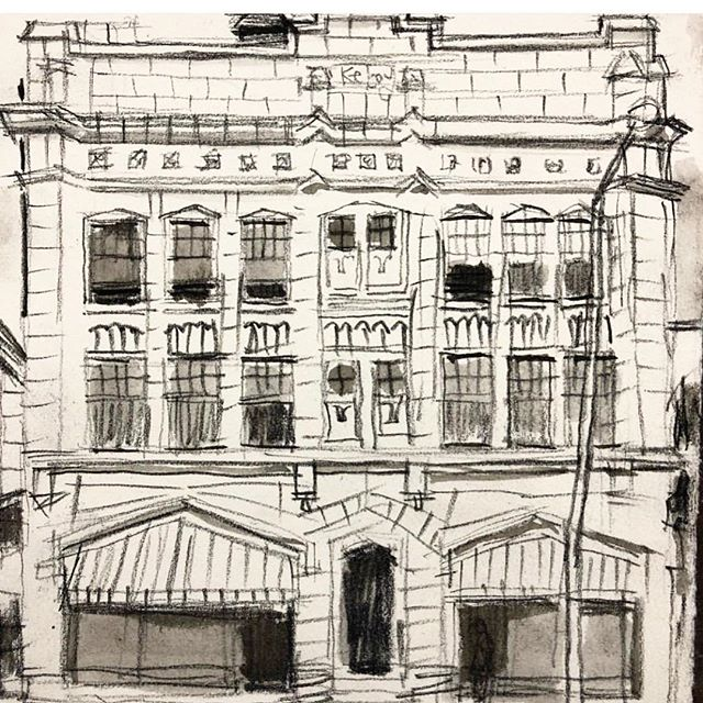 Don't you love this drawing of one of the iconic apartment buildings on the @avenueforthearts ? Drawn by one of the newest Avenue artists @studiobeerhorst we can't wait to see what Rick adds to the Avenue! #weloveartists #avenueforthearts #grmi #michiganartists
