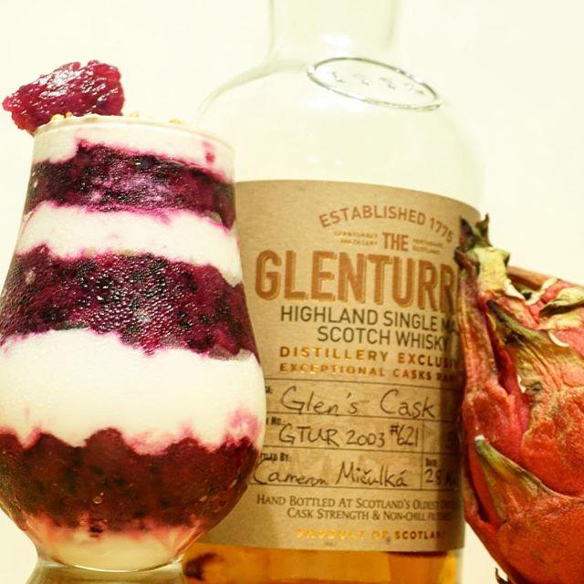 Dragon fruit cranachan with cream whipped with @theglenturret Glen's Cask. 👌🏼