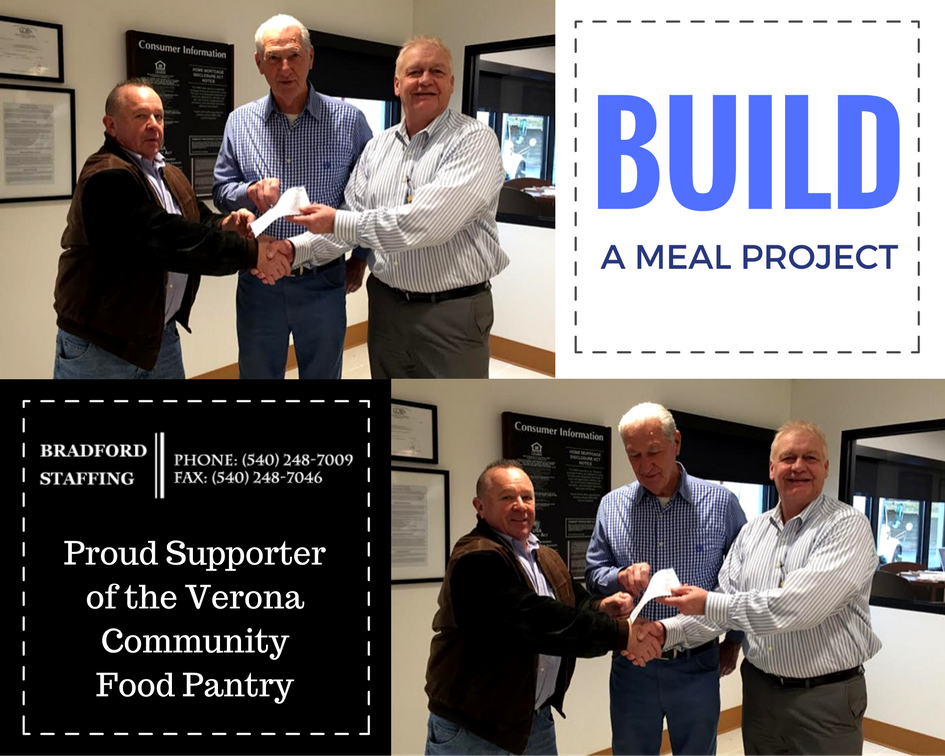 Verona Community Food Pantry - We are a proud supporter of the 3rd Annual Build a Meal Project benefiting the Verona Community Food Pantry.
