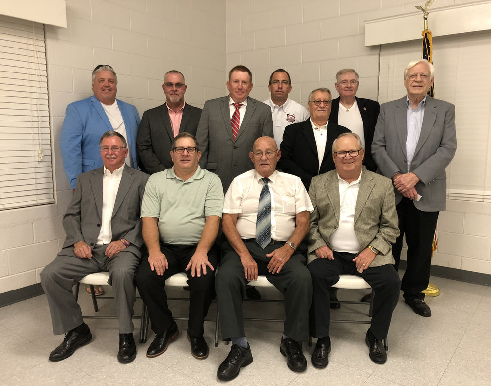 2018-2019 Board and Officers: Front Row: Wade Evans, Dennis Will, Elwood King Sr., Jimmy Seagroves (President). Back Row: Danny Thorton (Treasurer), Darin Hall, Paul Lee, Donnie Lindsey, Donald Paker, Ron Morrow, Ed Lilley.