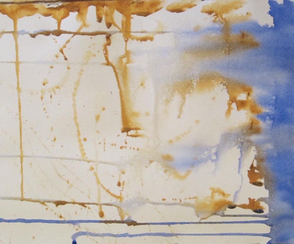 Livy then turned the horizontally and carried the paint across the paper. Notice she leaves white space to create light and to allow for development of the future subject.