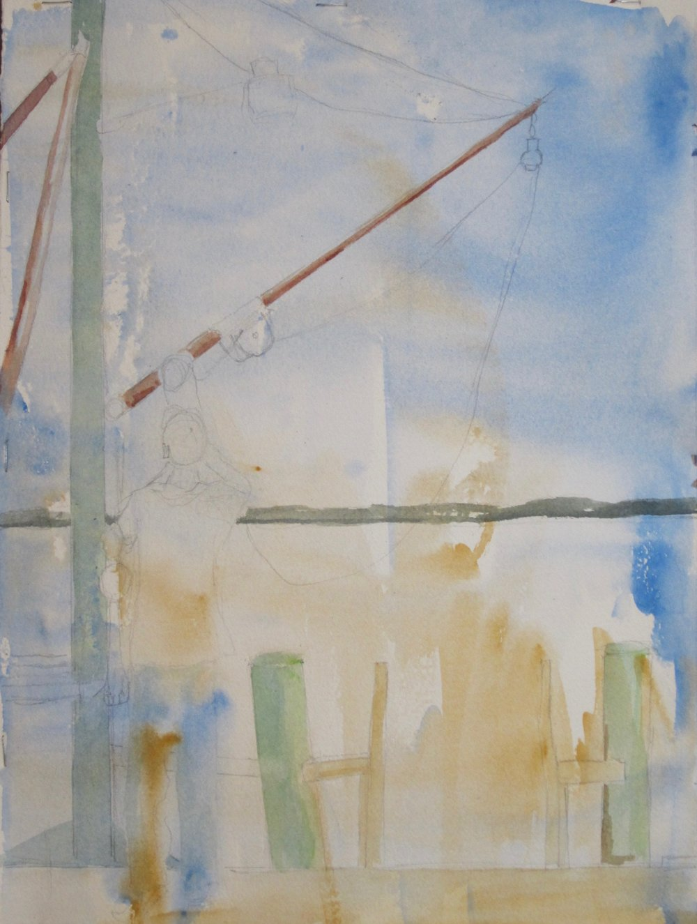 With the subject created, Livy adds supporting details to the painting. She created features of a wharf and enhanced the figure.